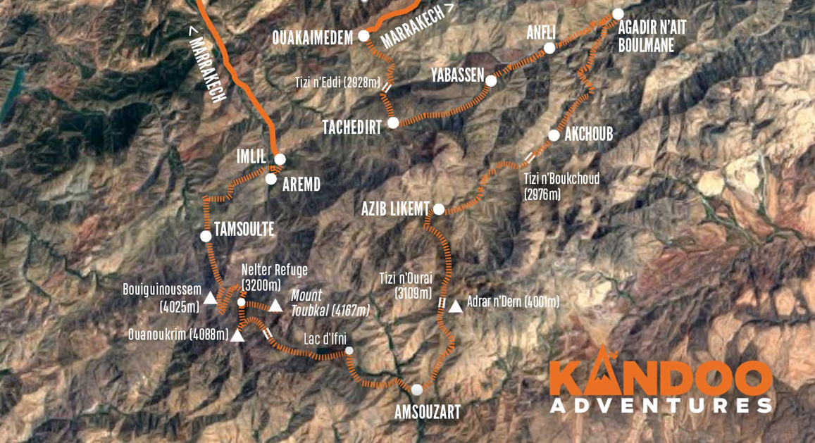 4000m Peaks of the High Atlas Route Map