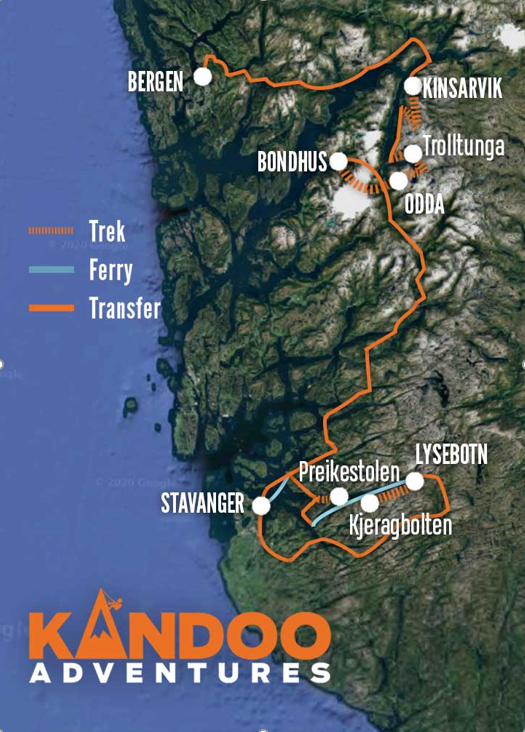 Best of South Norway Route Map
