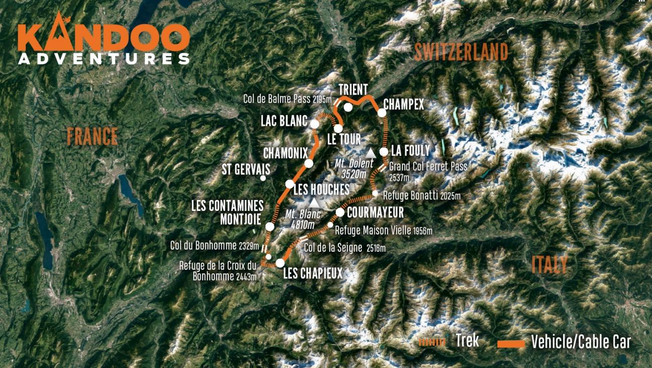 Best of Tour du Mont Blanc Route Map