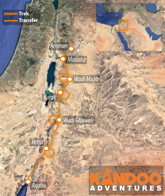 Canyons of Jordan route map