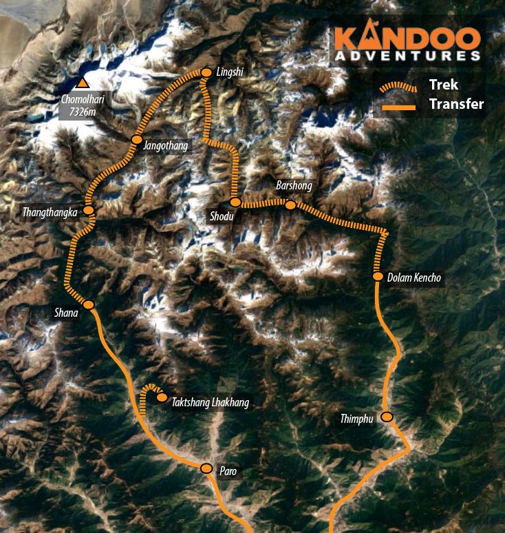 Chomolhari Route Map
