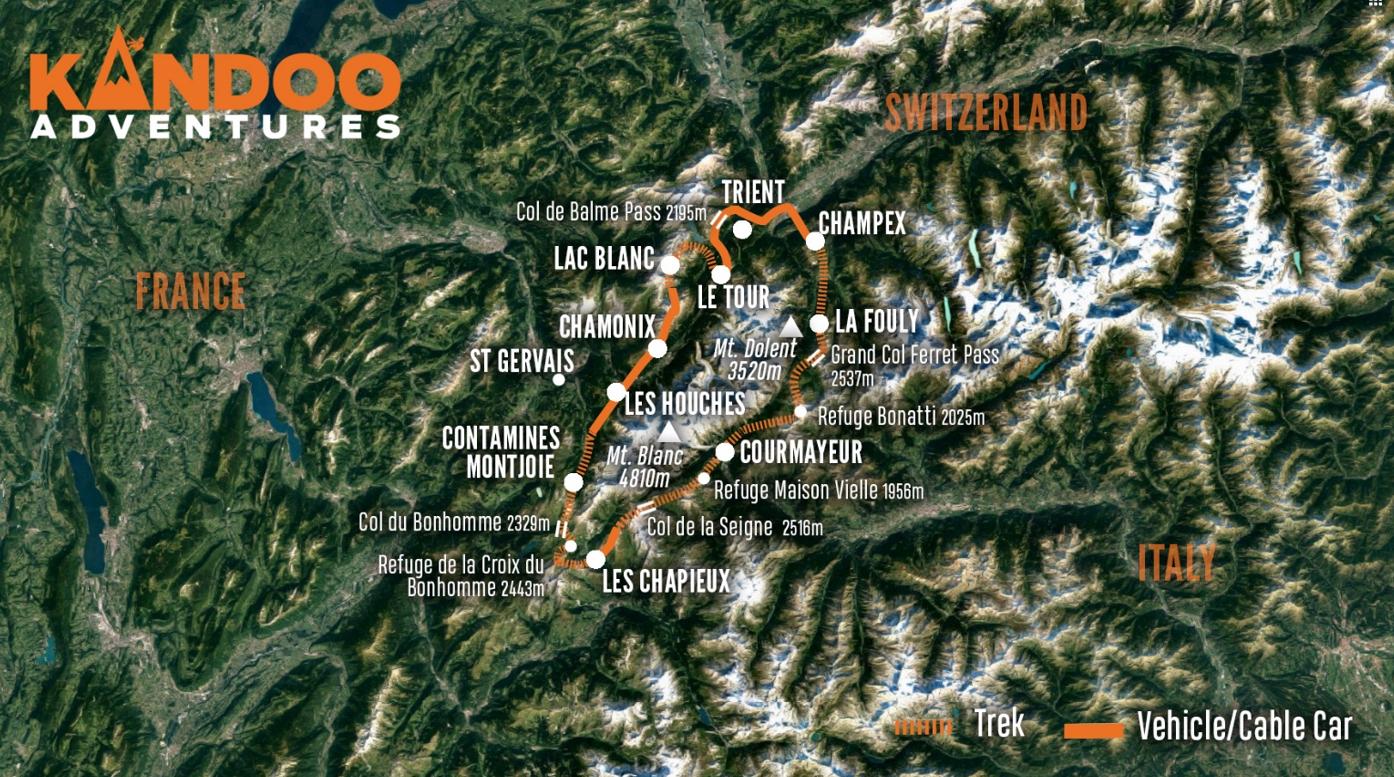 Classic Tour du Mont Blanc Route Map
