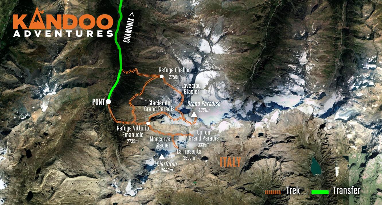 Climb Gran Paradiso Route Map