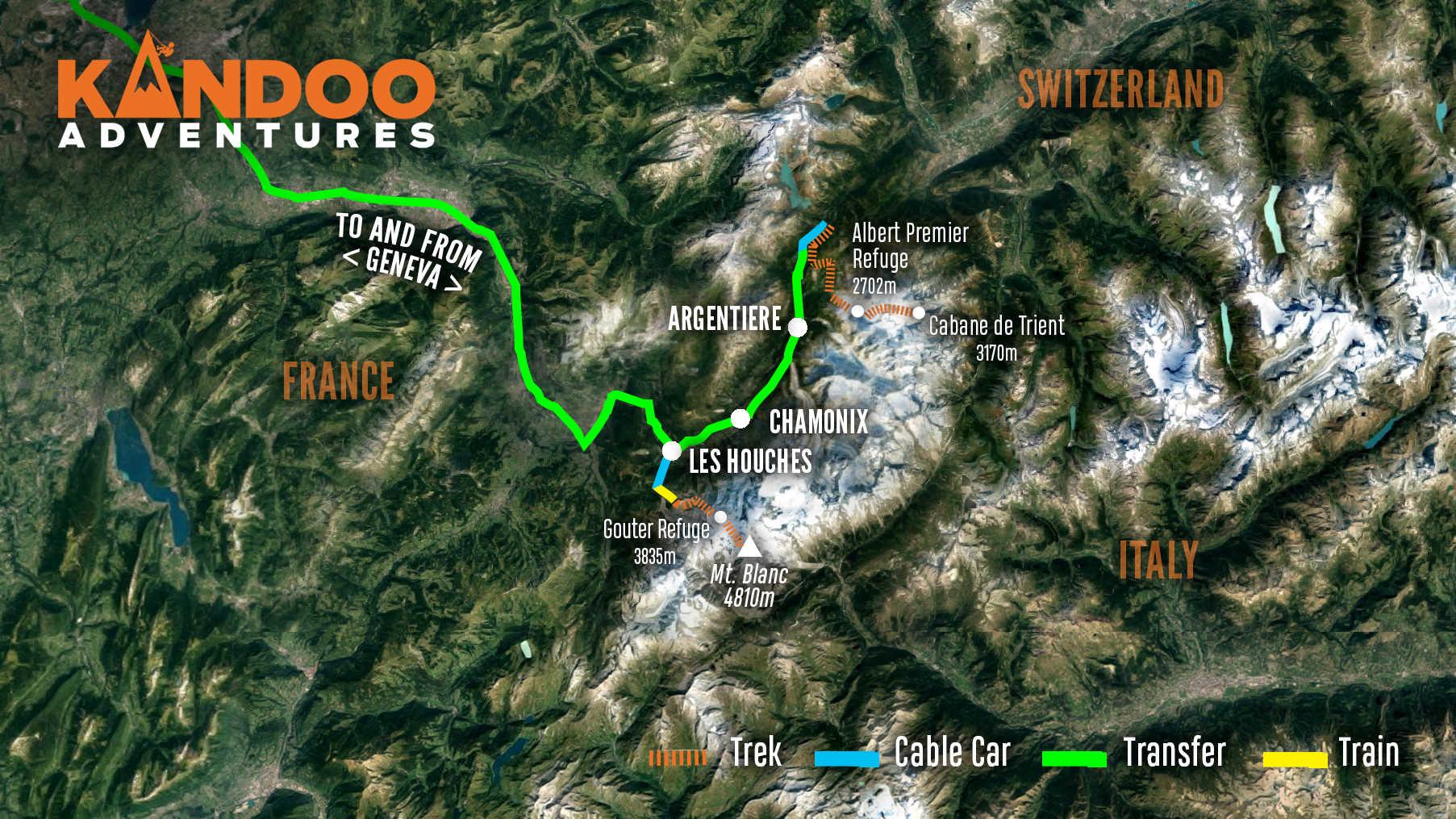 Climb Mont Blanc Route Map