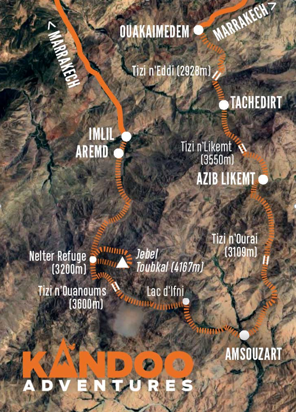 Climb Mount Toubkal Route Map
