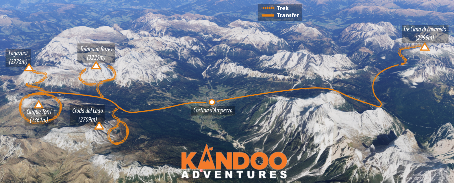 Highlights of the Dolomites route map