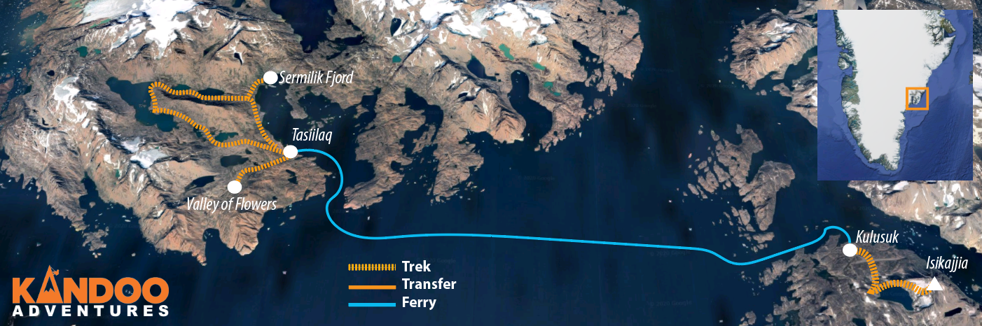 Hiking East Greenland Route Map