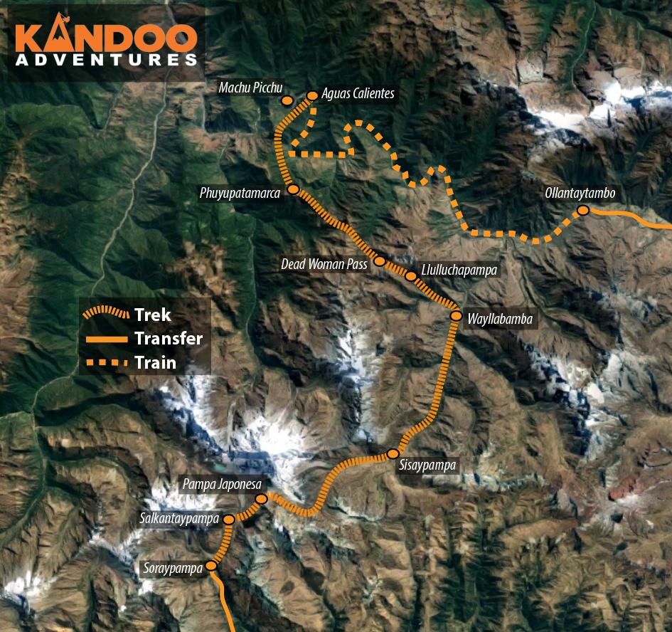 Inca Trail via Salkantay Route Map