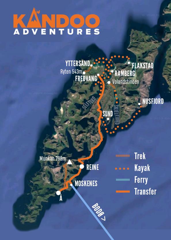 Kayaking and Hiking in Lofoten Route Map
