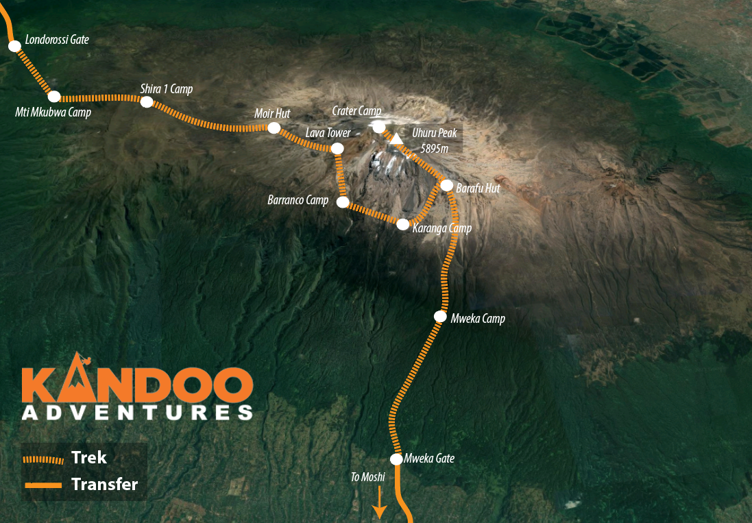 Lemosho Route and Crater camp Map