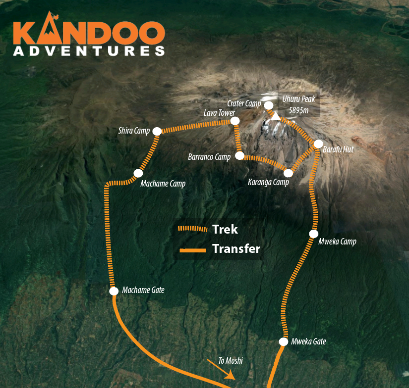 Machame Route and Crater Camp Map