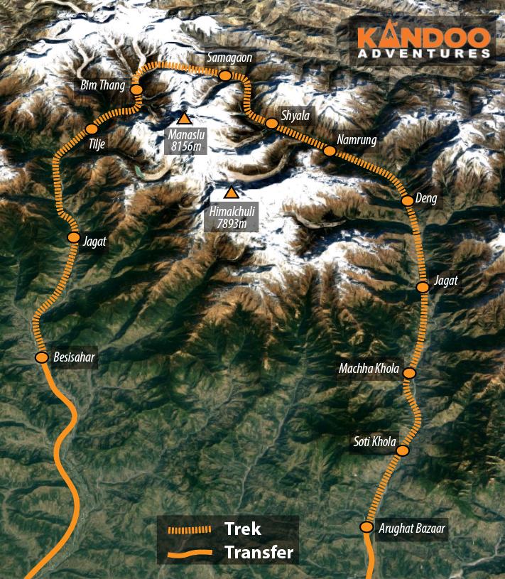 Manaslu Circuit Route Map