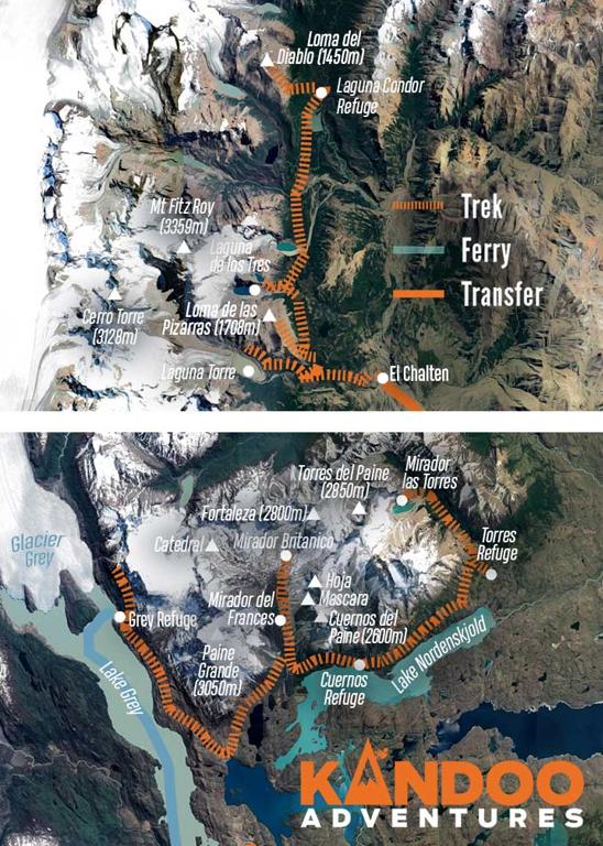 Peaks of Patagonia Route Map
