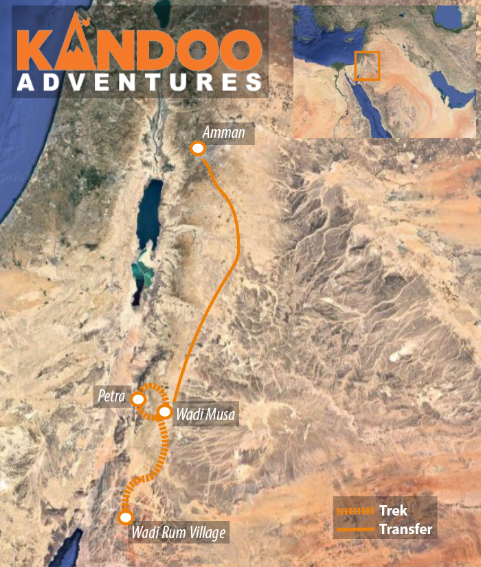 Petra to Wadi Rum route map