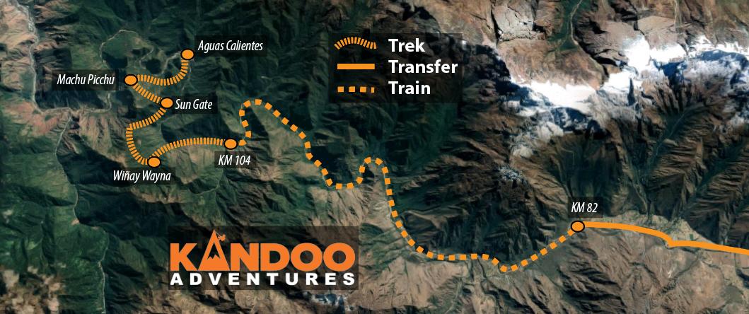 Short Inca Trail Route Map