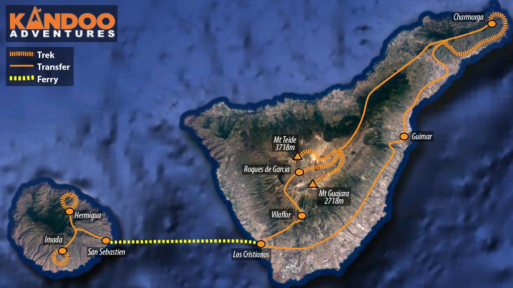 Tenerife and La Gomera route map