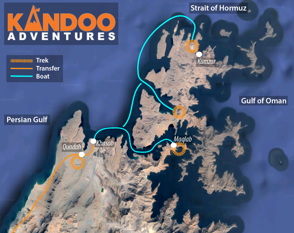 Trek to Musandam Route Map