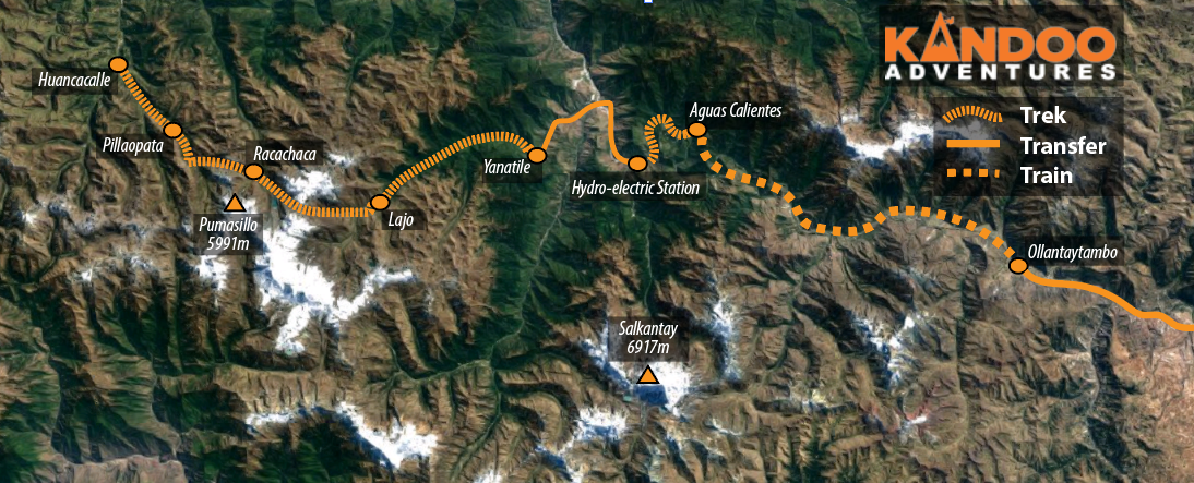 Vilcabamba Trek Route Map