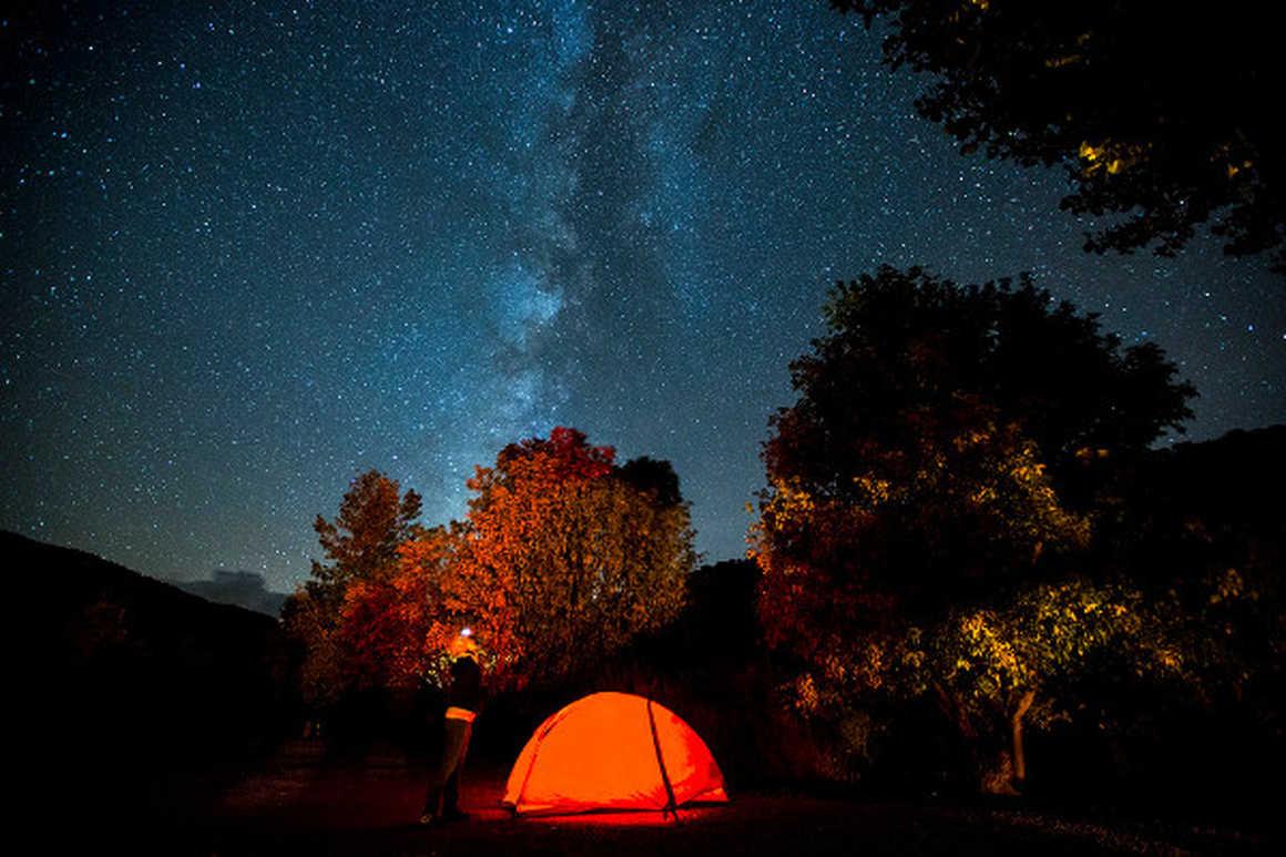 Base camp at night in Alaska