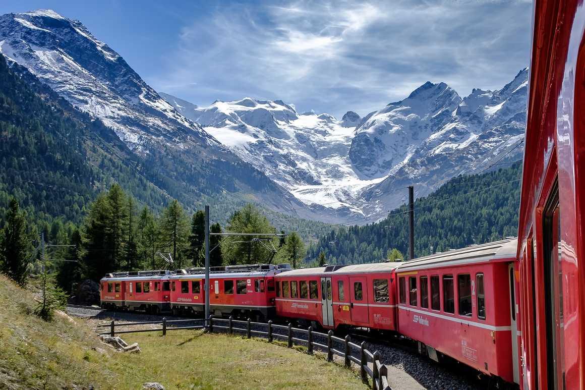 Bernina-Express train in Switzerland