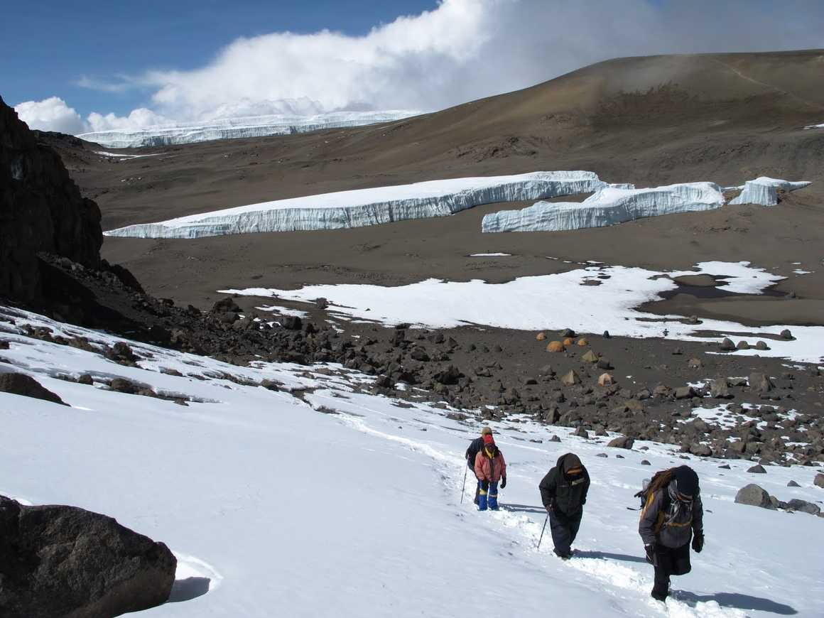 Hikers leaving the Crater Camp