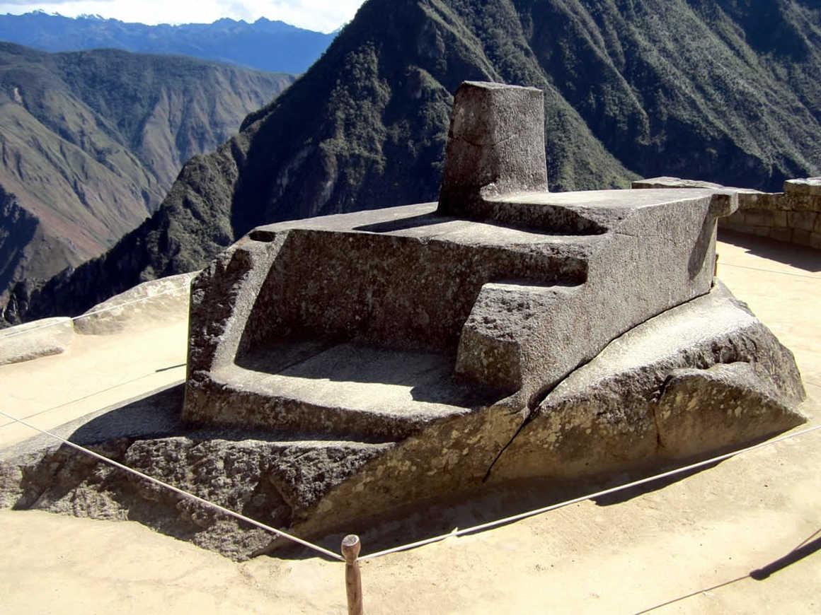 Intihuatana stone in Machu Picchu