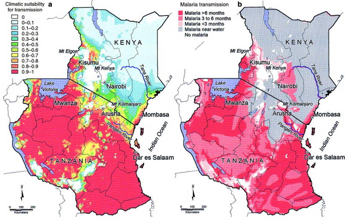 Map for Malaria risk zones