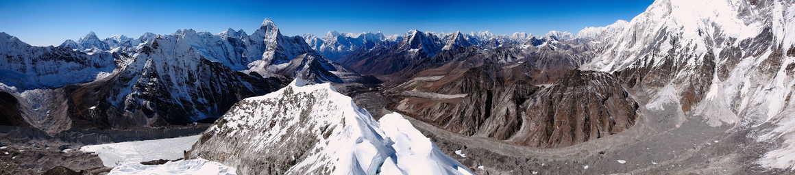 Panorama from the Island Peak mountain in Nepal