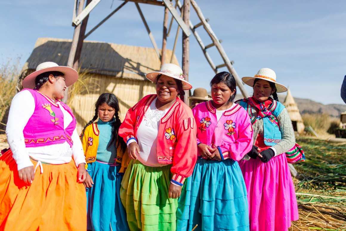 Peruvian women at Lake Titicaca