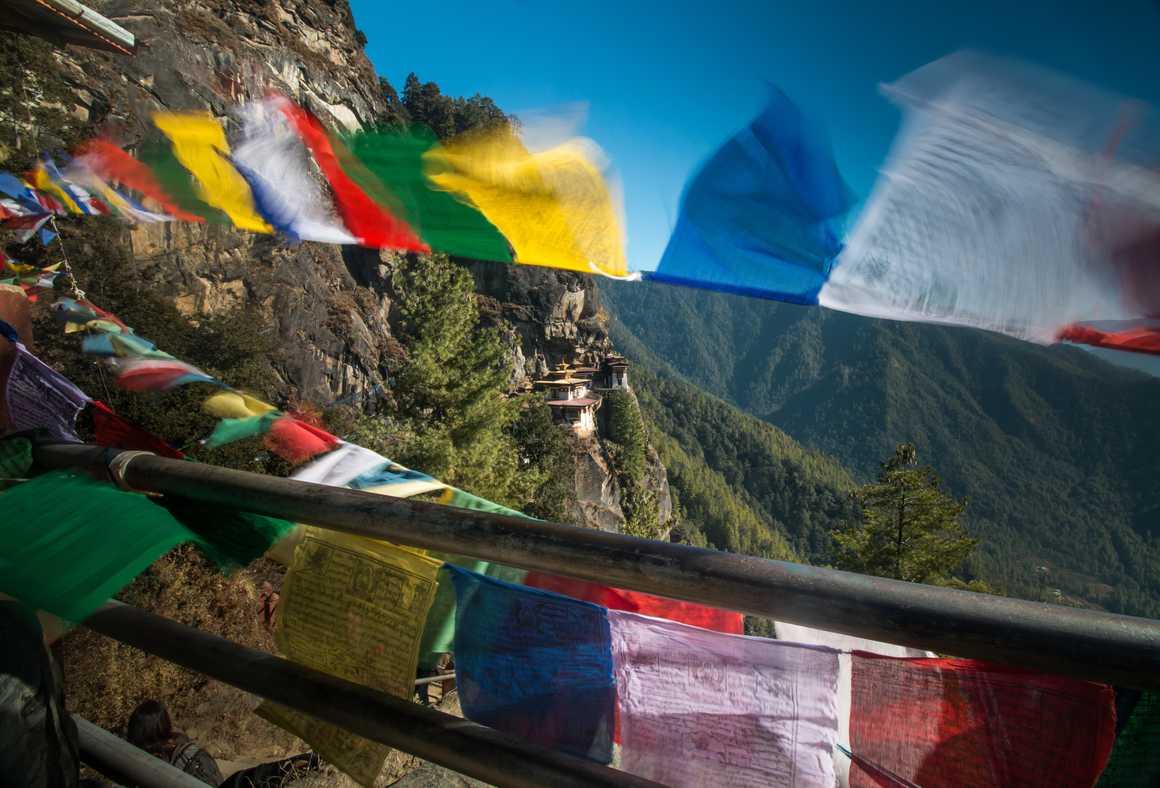 Prayer flag in Taktsang Lhakhang, Bhutan