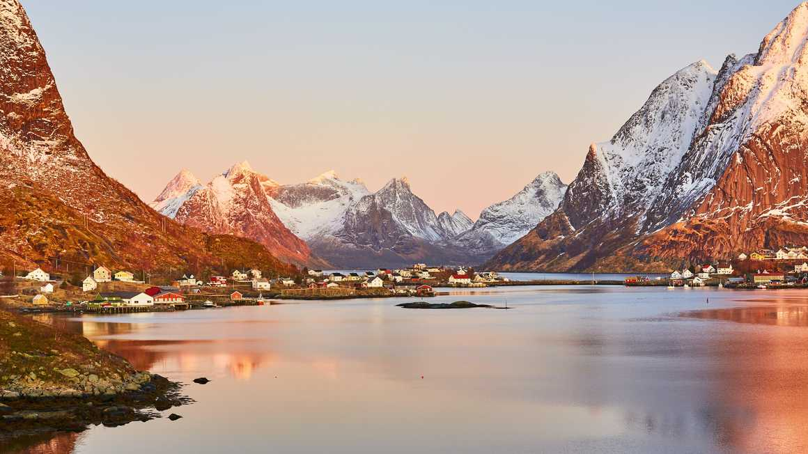 Sunset on a typical village of the Lofoten islands