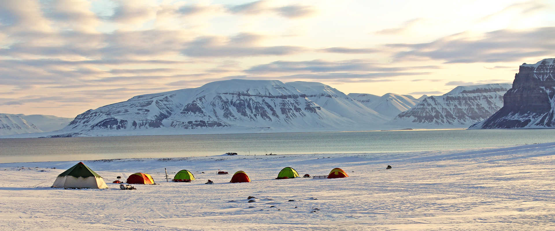 Base camp in Spitsbergen during Winter