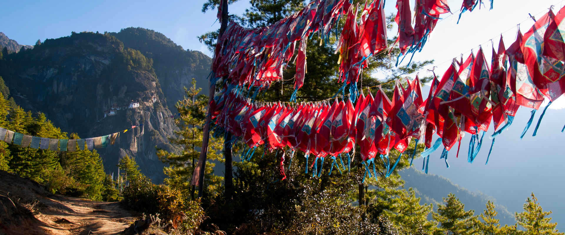 Flags during the Druk Path in Bhutan