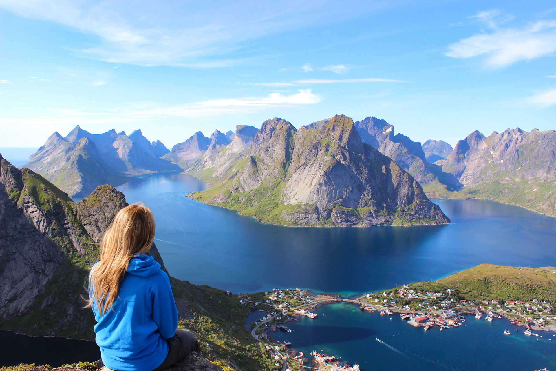 From Reinebringen, panoramic view on Lofoten islands