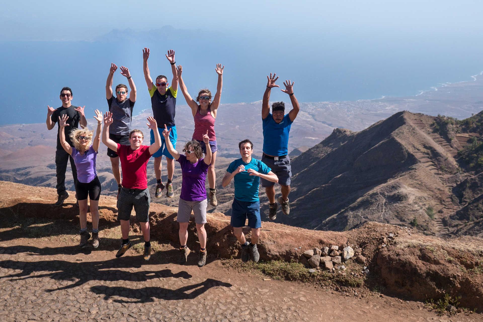 Happy hikers in Cabo Verde