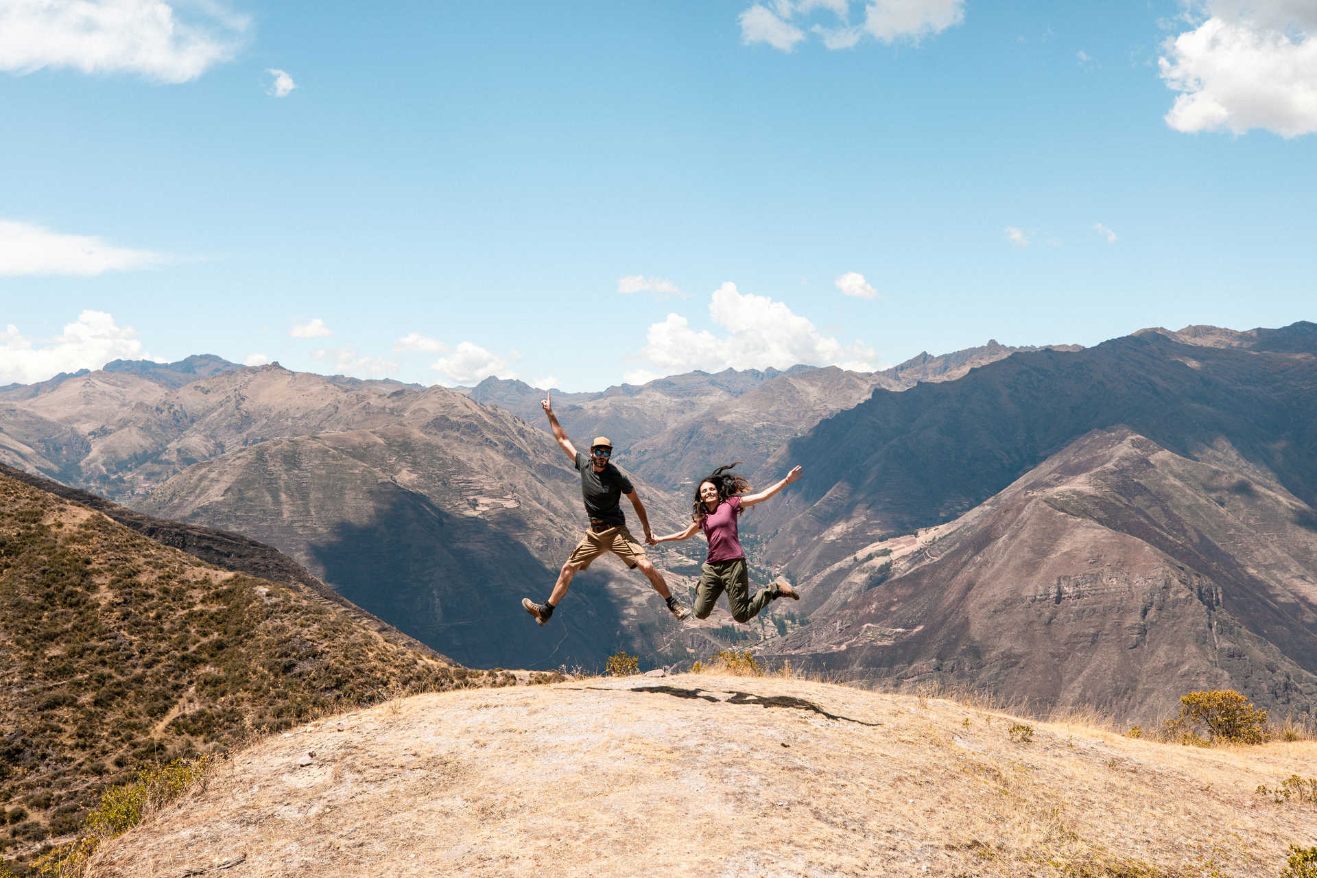 Happy trekkers in the Sacred Valley, Cusco region
