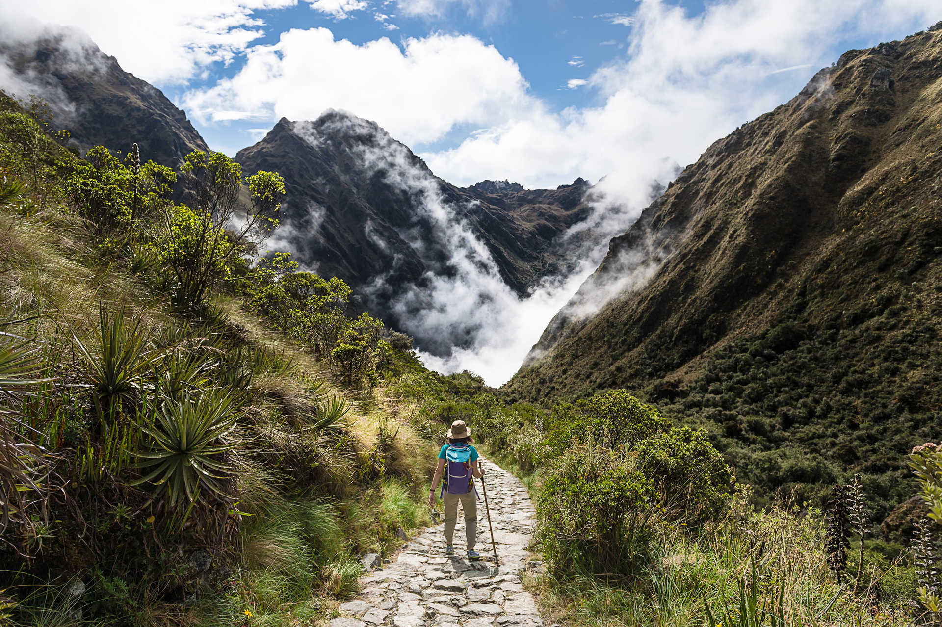 Hiker during the Inca Trail, in the Cuzco region