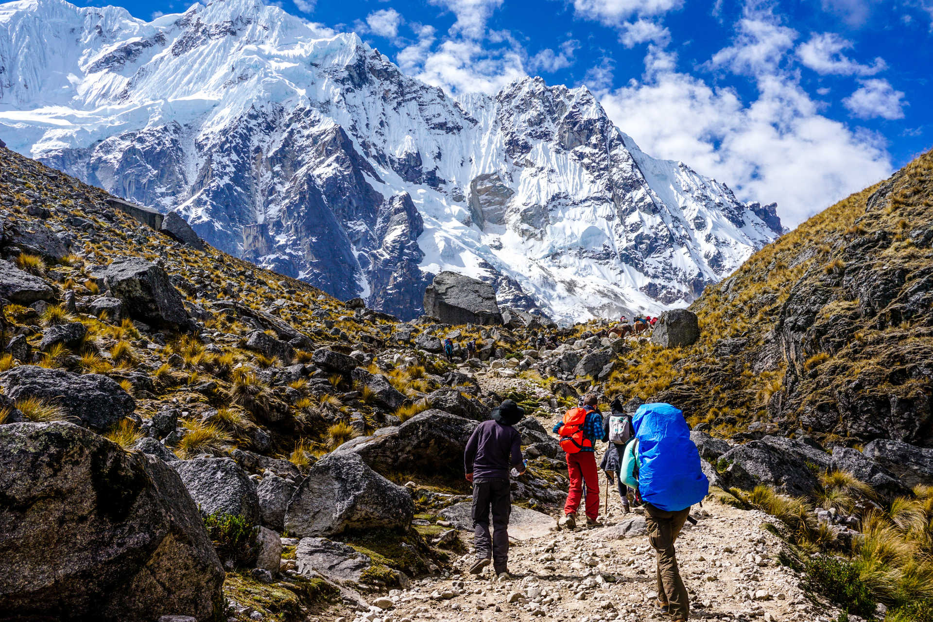 Hikers cimbing to the Salkantay pass