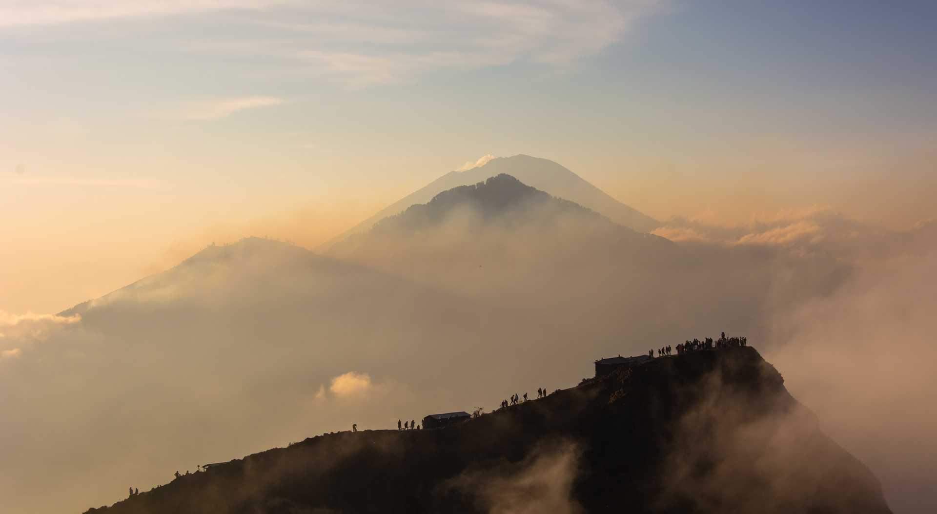 Hikers climbing Mount Batur