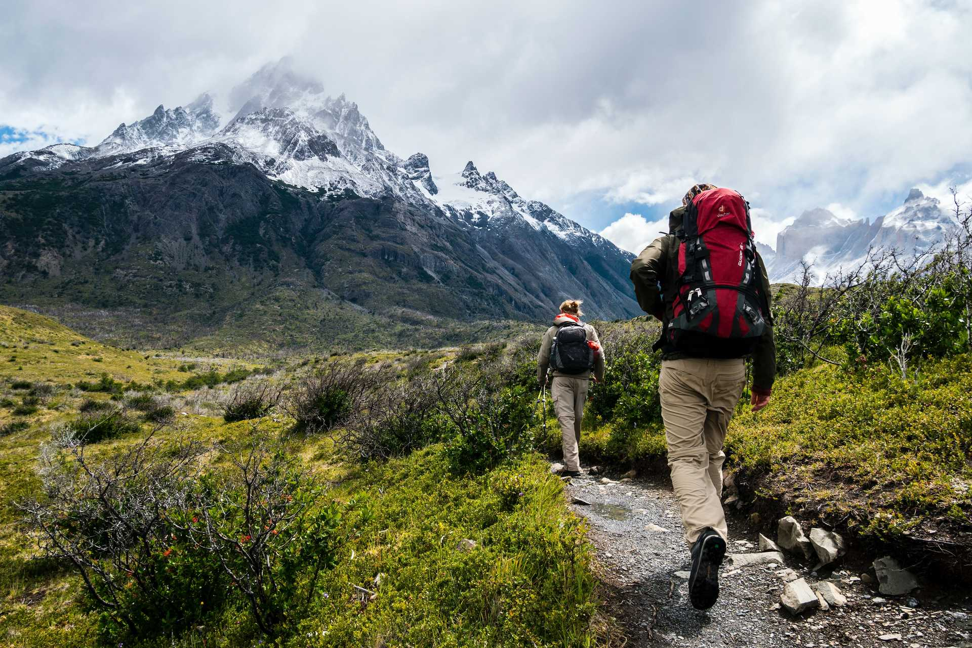 Hikers during the W trek in Patagonia