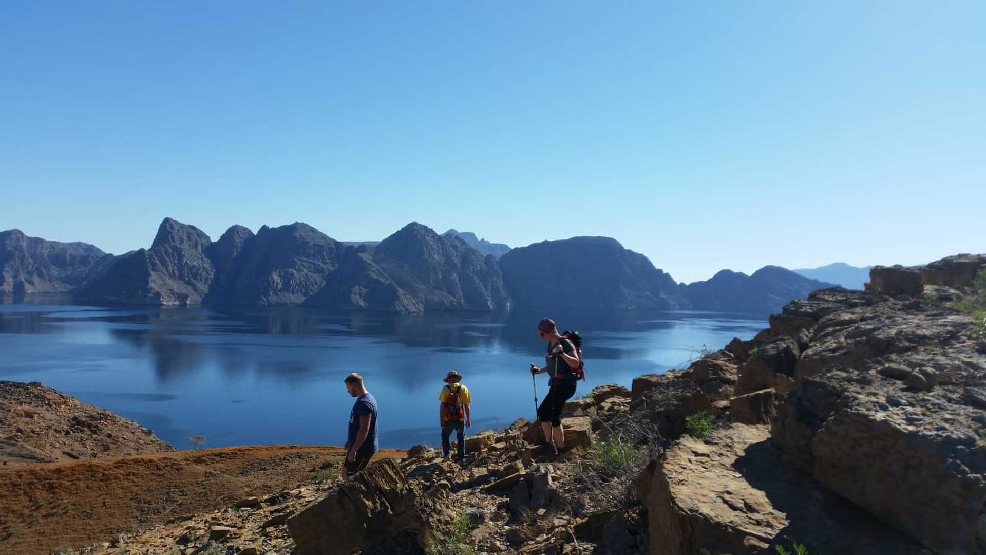 Hikers in the Musandam fjords