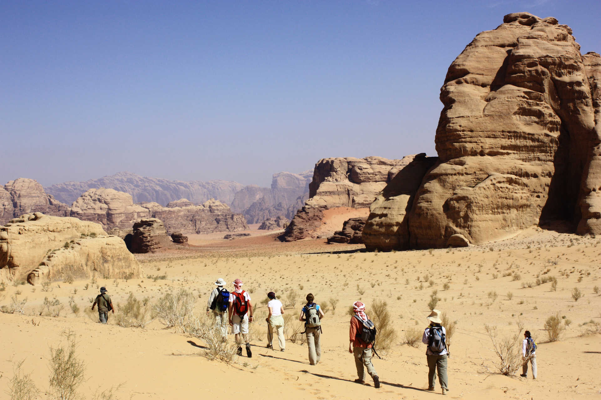 Hikers in the Wadi Rum desert
