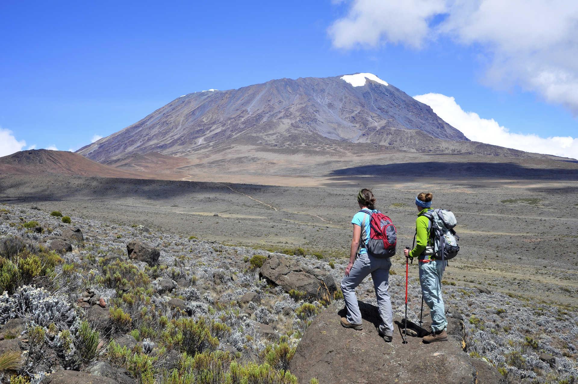 Hikers looking at the Mount Kilimanjaro