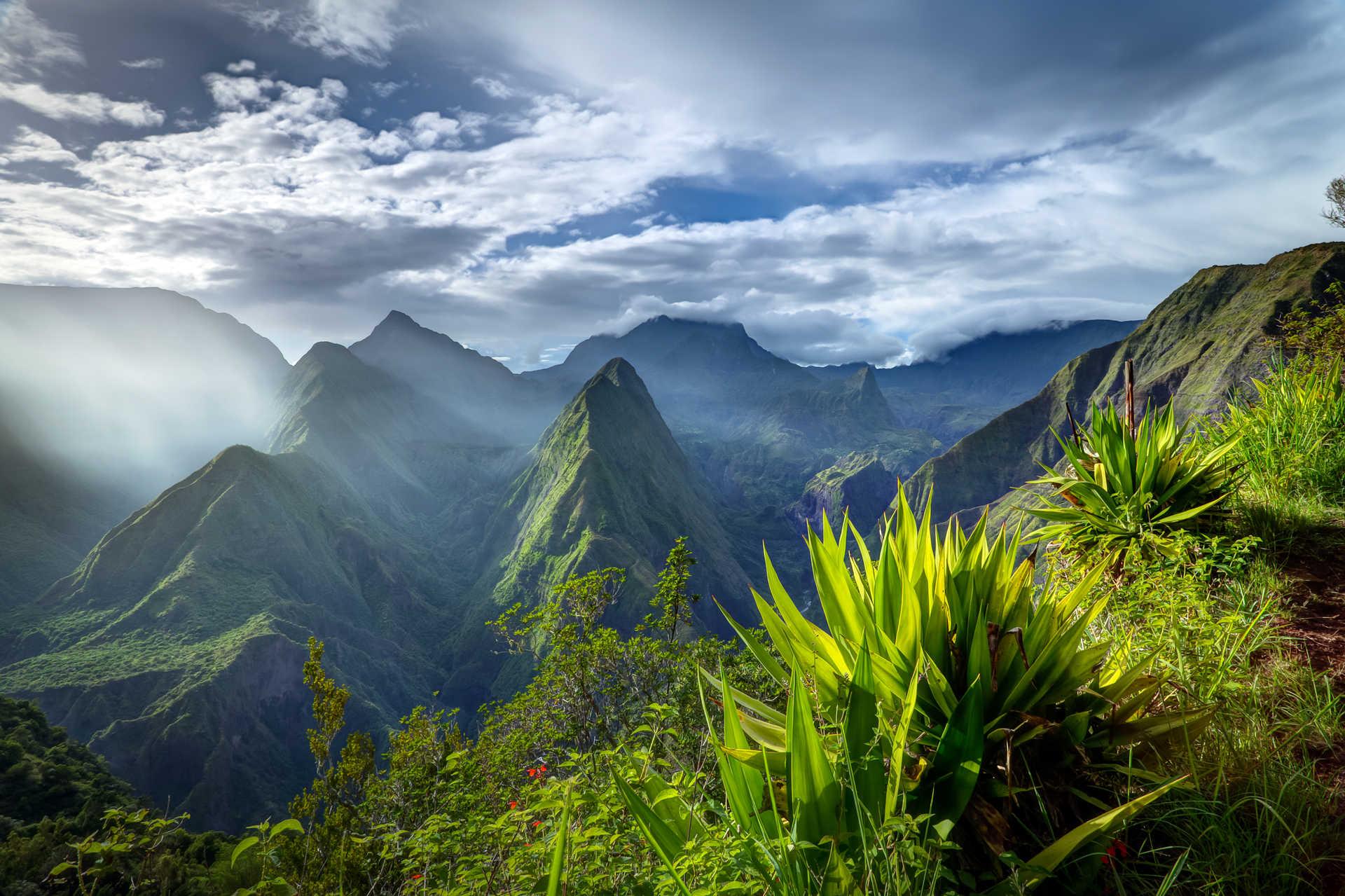 Jagged landscape on Reunion Island