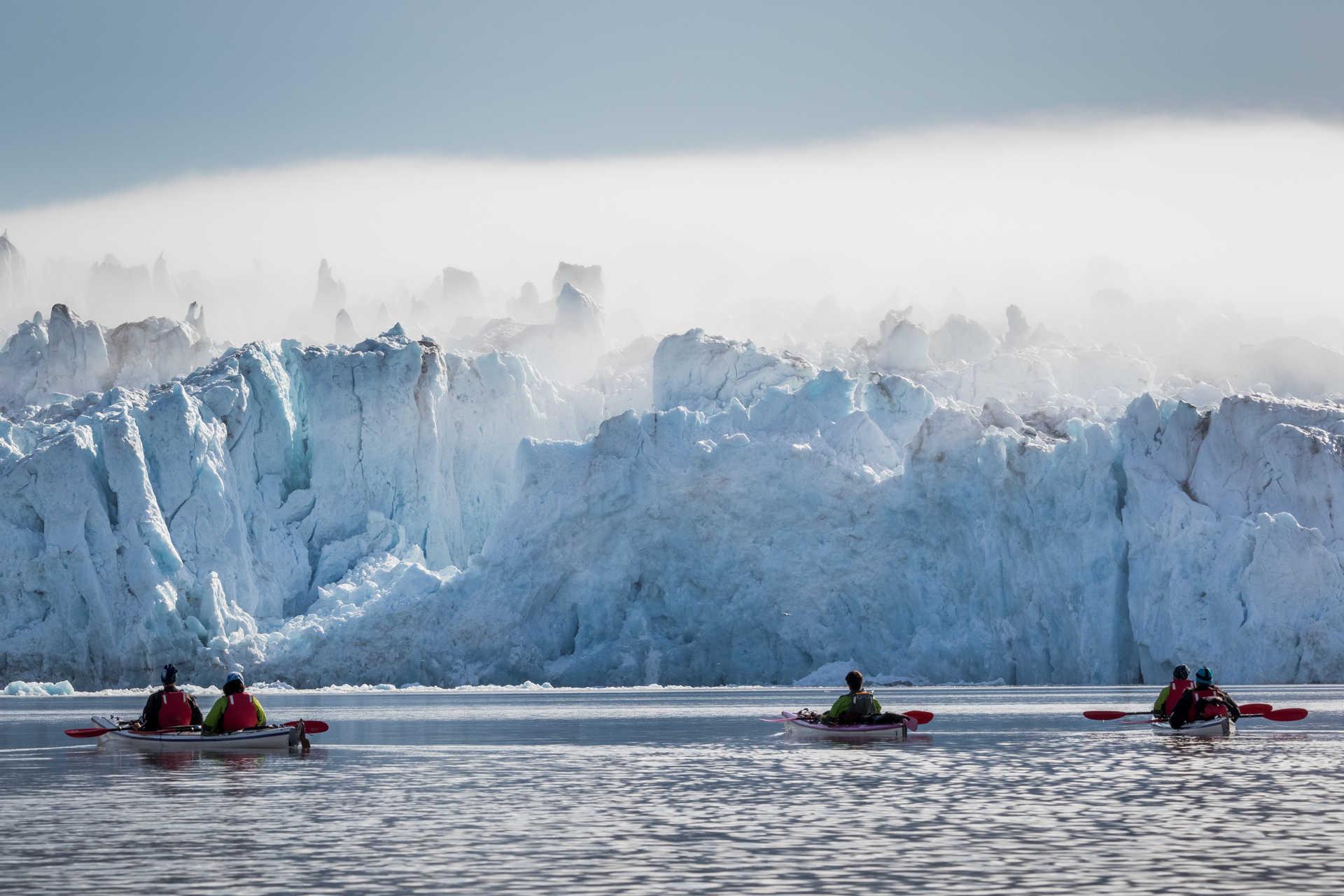 Kayaking in Monacobreen, Svalbard