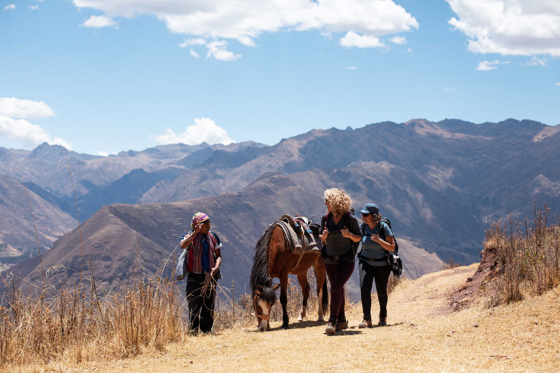 Meeting with local people during a trek in the Sacred Valley