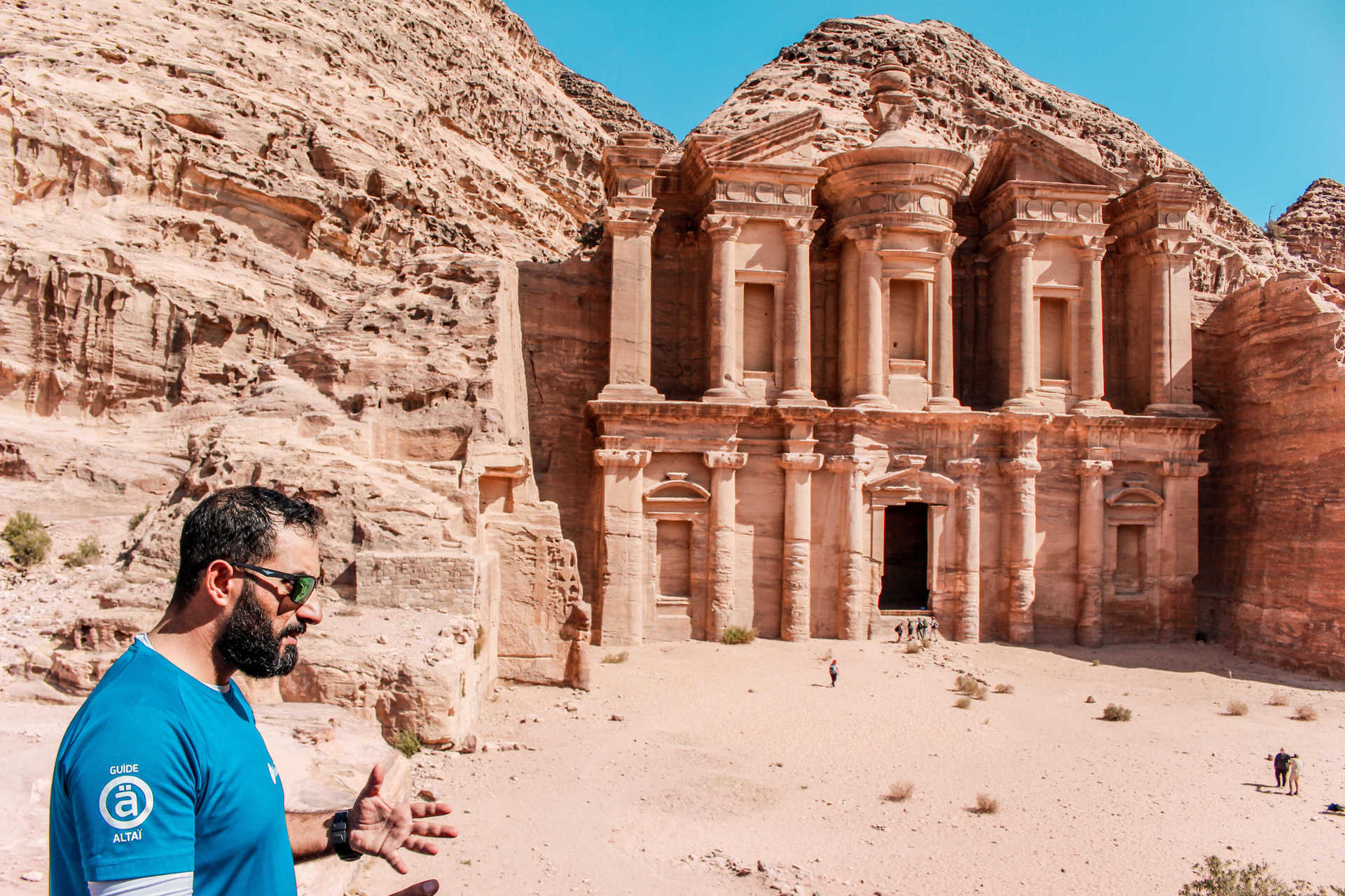 Our guide in front of the Deir in Petra