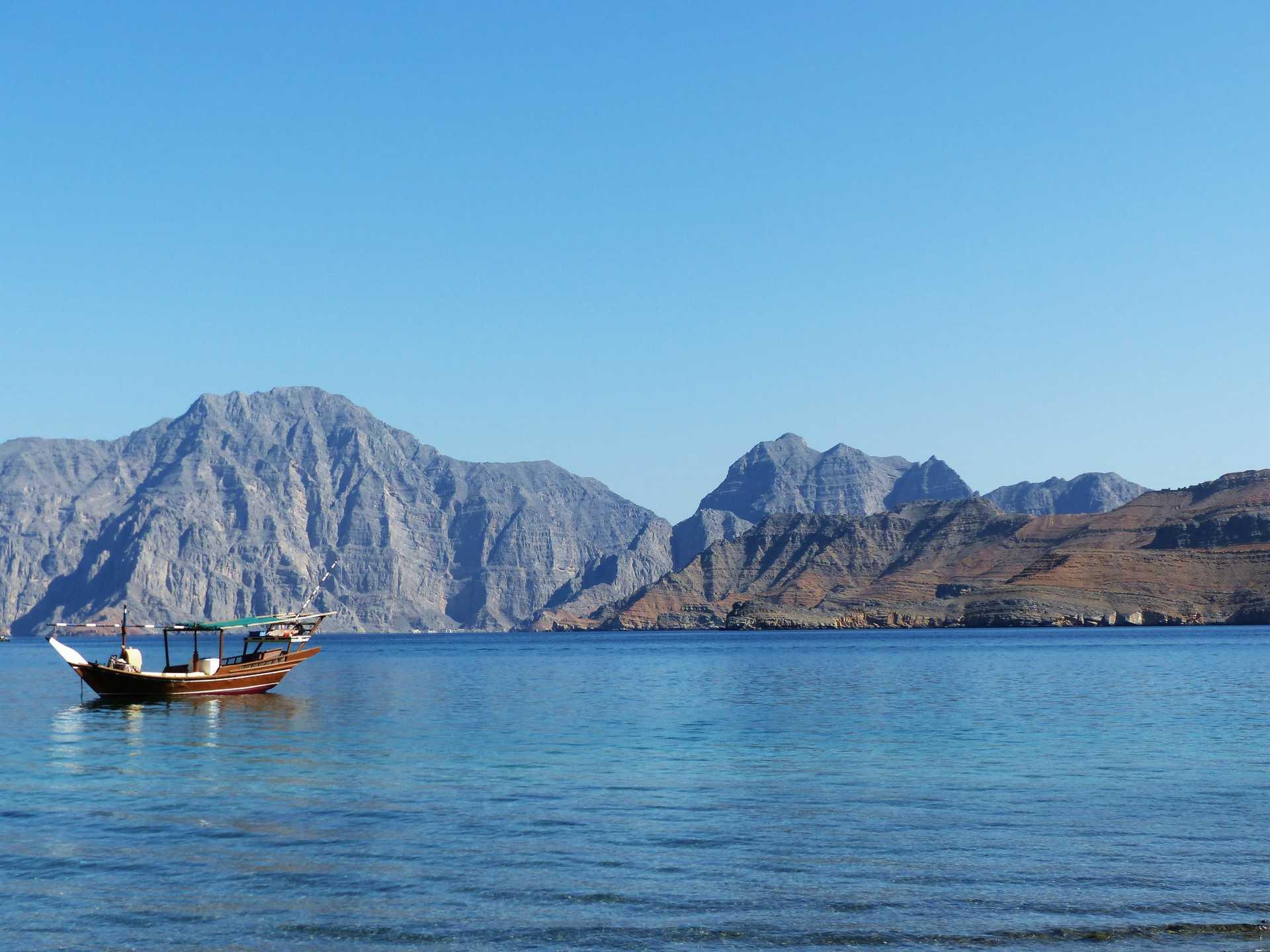 Peaceful landscape of the Musandan fjords