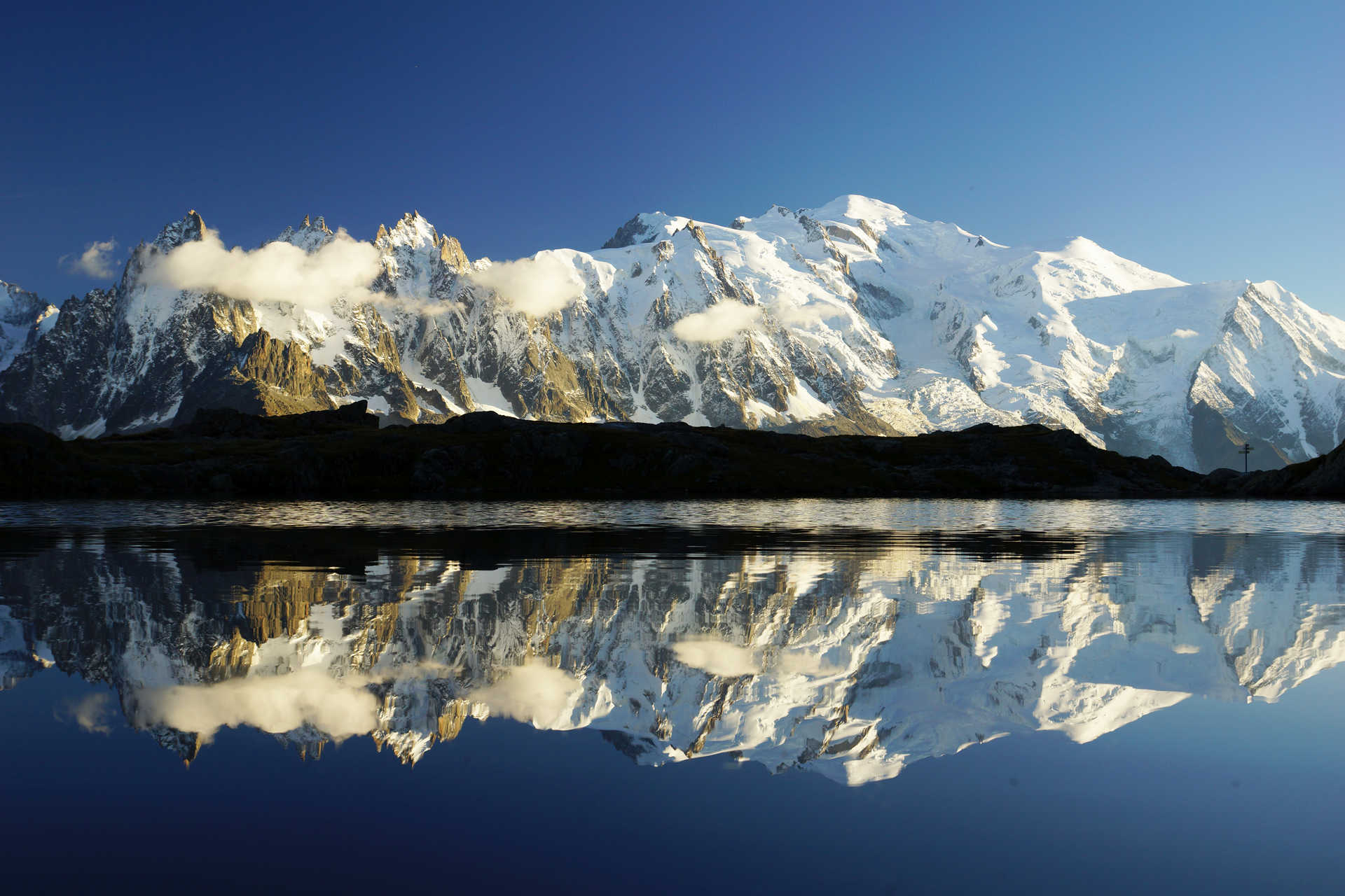 Perfect reflection on the Chésery lakes in front of the Mont Blanc massif