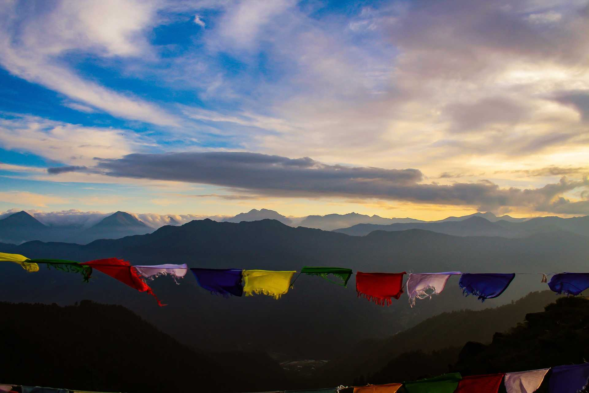 Prayer flags in Chele La Pass, Bhutan